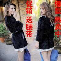 Mink hair fur coat outerwear black outerwear women's faux top