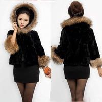 Faux fur coat cap vest female fur vest autumn and winter women fur overcoat