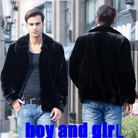 Imitation mink marten velvet jacket outerwear fur coat men's clothing fur overcoat male leather clothing
