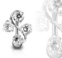 Free shipping elegant 4 gem vine navel belly rings body piercing jewelry 1pc