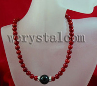 AAA Round Red Coral 6 5mm Black Onyx Necklace