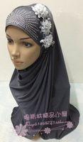 Pure Solid Color Soft milk silk rhinestones flower muslim bandanas hijab hats