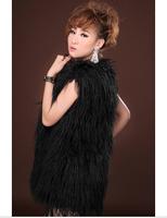 Fur vest black medium-long