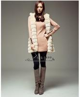 All-match faux fur hooded medium-long vest faux vest