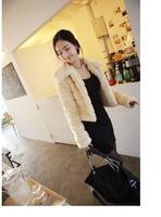 Elegant slim fur coat artificial plush rabbit fur short jacket