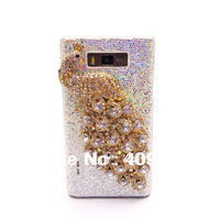 Bling Rhinestone Peacock White and Black Back Case Cover for  LG Optimus L7 P700 P705