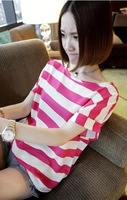 New pinstripe round neck short-sleeved chiffon shirt T-shirt Rose Red/white