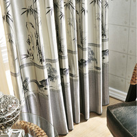 Chinese style thickening dodechedron curtain cloth bamboo design