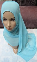 Pure Solid Color faux silk nano wrinkled 160 x 50cm  rhinestones Long scarf muslim bandanas hijab hats