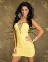 Europe and the United XXL Dress Flash gold piece clubwear Nightclub evening dress Yellow sexy miniskirt Free shipping
