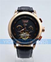 Free Shipping Drop Ship New JARAGAR High Class AutoMechanical black dial golden Tourbillon Watch