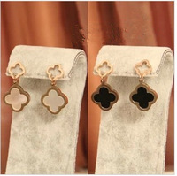 Min order $15(mix order) Free shipping 2013 new arriving brand clover shell drop earring/ titanium fine jewelry