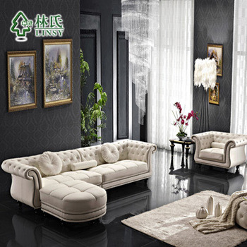 Lin first layer of leather furniture leather sofa living room sofa combination Continental Leather sofa Corner sofa 508