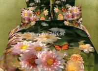 cotton bedlinen spring flower butterfly 4pcs queen/full oil painting comforter quilt/duvet covers bedding sets