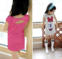 Free shipping! Girls minnie design T Shirt baby Cartoon cotton wear kids sweet mini dress 5pcs/lots