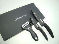 "6% discount  NEW 4""+ 6"" inch+Peeler Ultra Sharp Kitchen Ceramic Cutlery Knives set  Black"