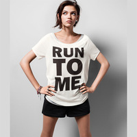 Women preppy style run to me letter print o-neck short-sleeve hm6
