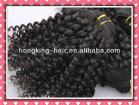 virgin hair extension hair weave Kinky Curl 1B# natural color,  10-26 inch mix sizes