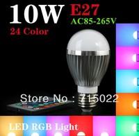 New RGB E27 10W LED Bulb Lamp with Remote Control AC85-265V 24Color