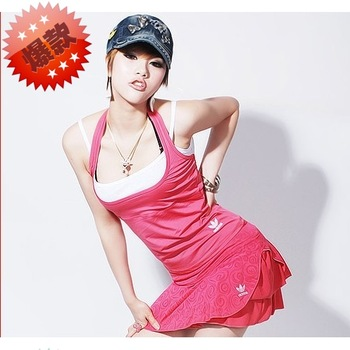 Summer tennis ball dress set female yoga clothes set female badminton baseball uniform short skirt belt pad vest