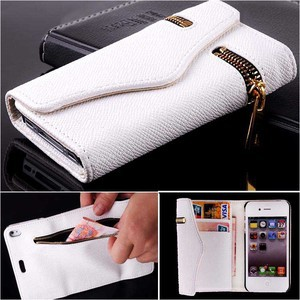 Zipper PU Leather Wallet Flip Hard Case Cover Card Holder for iPhone 4 4S White