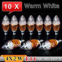 10Pcs/Lot E14 8w 85-265V Bridgelux Warm White/White Candel LED Light Crystal Blub Lamp Free Shipping