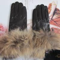 2012 women's raccoon fur gloves genuine leather gloves fur gloves