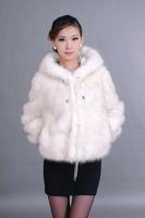 Anti season fox fur coat hooded long-sleeve