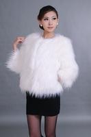 Anti season fur coat sleeve collarless wrist-length