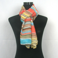 2013 New Arrival Hot Style Color Pastel Stripe Printing Scarf,POLYESTER,105*180cm