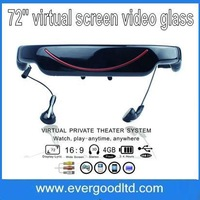 "Free Shipping Portable 72"" Virtual Screen mp4 Video Glass Built-in 4GB Flash Memory"