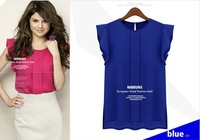 2013 summer blue short-sleeved Feifei sleeve chiffon shirt S / M / L / XL