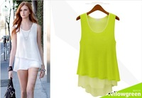 2013 New yellow green colored wild stitching two Camisole chiffon dress S / M / L / XL