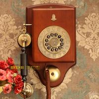 Paramount fashion solid wood wall mounted antique telephone golden 1913 telephone qau