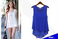 2013 New blue colored wild stitching two Camisole chiffon dress S / M / L / XL