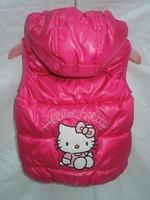 2013 new foreign tradeKT vest children hellokitty cotton vest Girls Hooded cotton vest in girl's clothes free shipping 1pcs