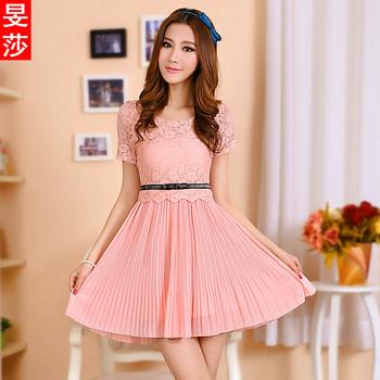 Women one-piece dress summer 2013 skirt slim lace short-sleeve chiffon one-piece dress summer