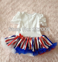 new design July 4th baby romper with tutu skirt romper