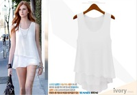 2013 New white colored wild stitching two Camisole chiffon dress S / M / L / XL
