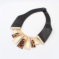 Min.order is $15 (mix order) Fashion fashion punk vintage leopard print short design metal necklace female accessories