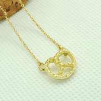 Free Shipping Wholesale Alibaba Tiny Gold Pretzel Pendant Necklace Jewelry