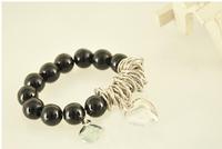 Free Shipping!Metallic bead Golden Circle love pearl bracelet!