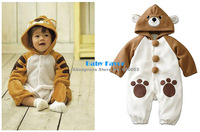 Free Shipping 1pcs Romper Jumpsuit Playsuit Clothes One-piece For Infant Kid Toddler Newborn Baby Boy Tiger Bear Winter Warm