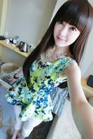 Summer vintage abstract flower sleeveless chiffon bud skirt top k26