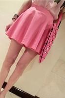 Fashion summer female high waist elastic strap solid color half-length chiffon basic shorts culottes c10