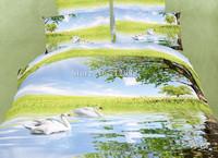 newest belinens white swan lake blue green oil painting cotton 4pcs full/queen duvet/comforter covers bedding sets