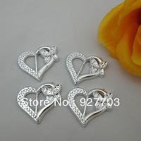 (CM430 15mm) Fashion Heart Silver Tone Acrylic Buckle For Wedding Invitation Card