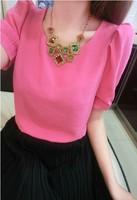 Women's fashionable casual puff sleeve shoulder pads solid color fashion short-sleeve chiffon shirt b13