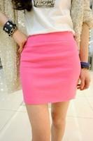 Candy color slim hip skirt short skirt high waist a-line skirt bust skirt spring and summer female skirt q08