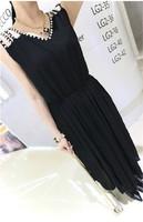 Summer elegant rhinestone cutout pleated slim waist chiffon sleeveless tank dress one-piece dress midguts c28